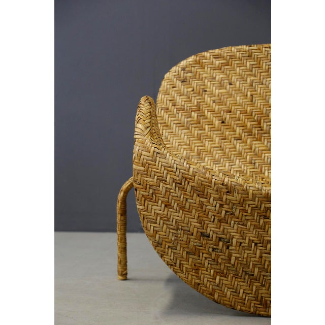 Italian Mid-Century Armchairs in Beige Colored Rattan, 1950s For Sale - Image 4 of 12