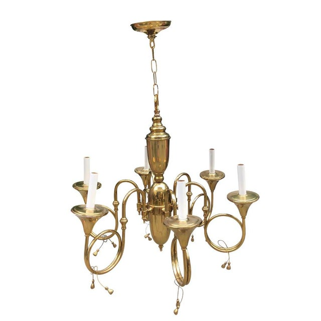 Gold Mid-Century French Style Brass Hunting Horn 6-Light Chandelier For Sale - Image 8 of 8