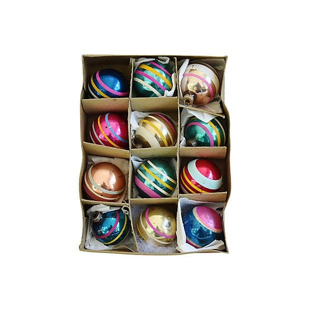 1960s Striped Christmas Ornaments w/Box - Set of 12 - Image 2 of 7