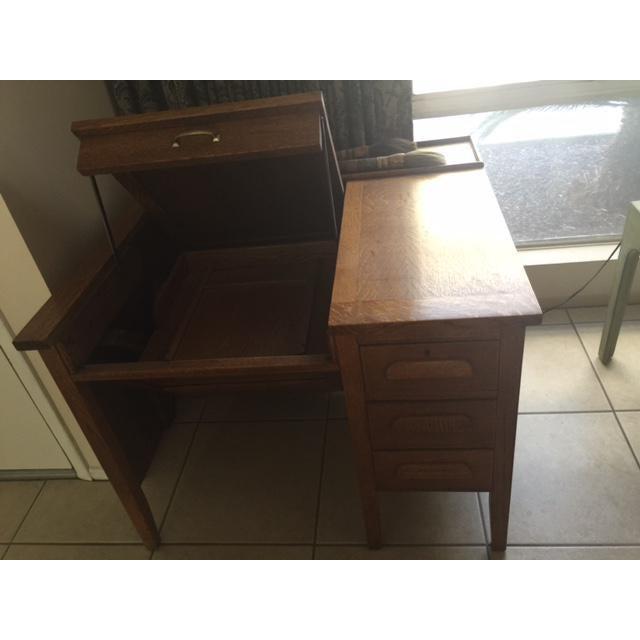 Contemporary Solid Oak Secretary Desk For Sale - Image 3 of 7