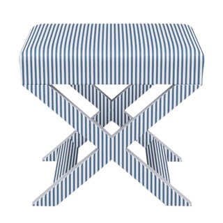 X Bench in Azul Ticking Stripe For Sale