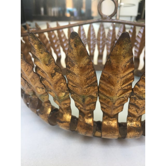 Gilt Metal Sunburst Crown Ceiling Fixture with Frosted Glass For Sale - Image 5 of 6
