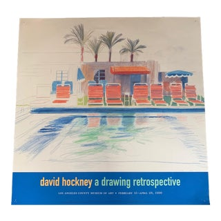 """1990s David Hockney LACMA """"A Drawing Retrospective"""" Swimming Pool Poster For Sale"""