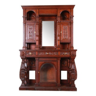 19th Century Ornate French Oak Sideboard Hutch or Bar Cabinet With Carved Faces For Sale
