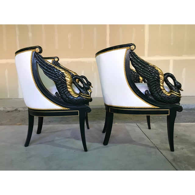 French Early 20th Century Gilt Mahogany Swan Chairs Attributed Charles Percier- a Pair For Sale - Image 3 of 13