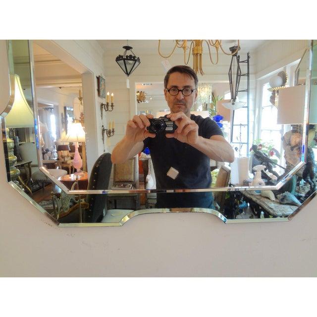 Hollywood Regency Italian Fontana Arte Style Green Mirror For Sale - Image 3 of 6