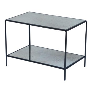 The 'Rectiligne' Wrought Iron and Mirror End Table For Sale
