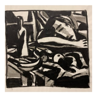 """Donald Stacy """"Sleeping with Fruit"""" c.1950s Gouache paint on paper 24""""x18'"""" For Sale"""