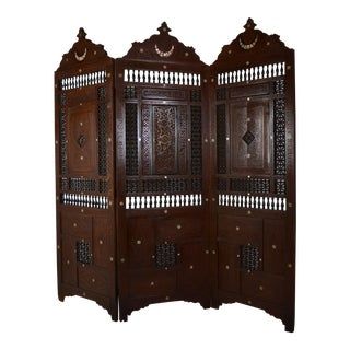 1920s Syrian 3 Panel Room Divider For Sale