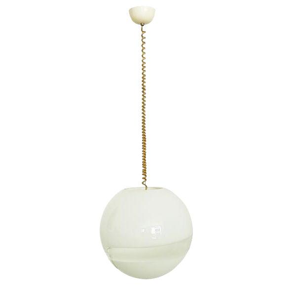 1960s Mid Century Modern Italian White Murano Glass Pendant Light For Sale