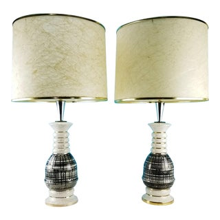 Mid Century Modern Table Lamps With Fiberglass Shades - a Pair For Sale