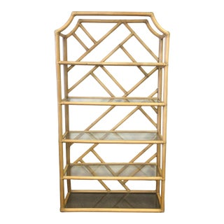 1970s Boho Bamboo Etagere 1 For Sale