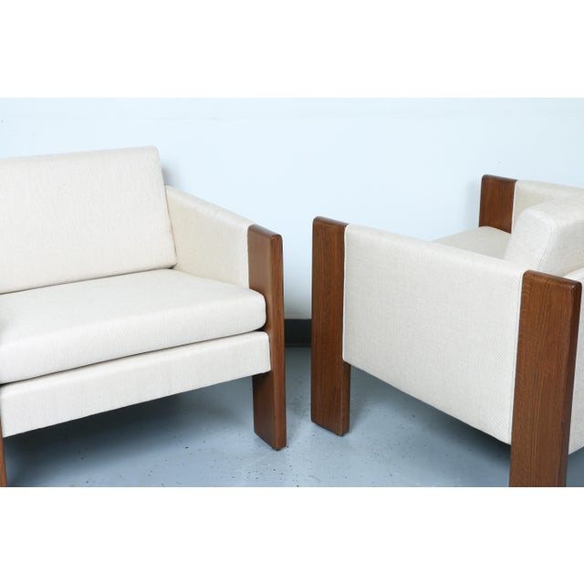 Walnut pair of Cubed Lounge Chairs - Image 5 of 10