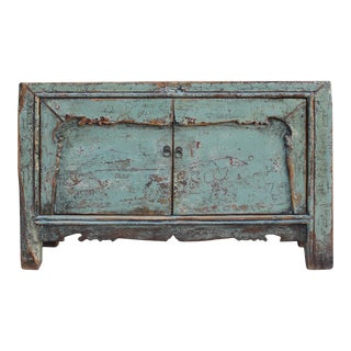 Chinese Distressed Light Turquoise Blue Credenza Sideboard Cabinet For Sale