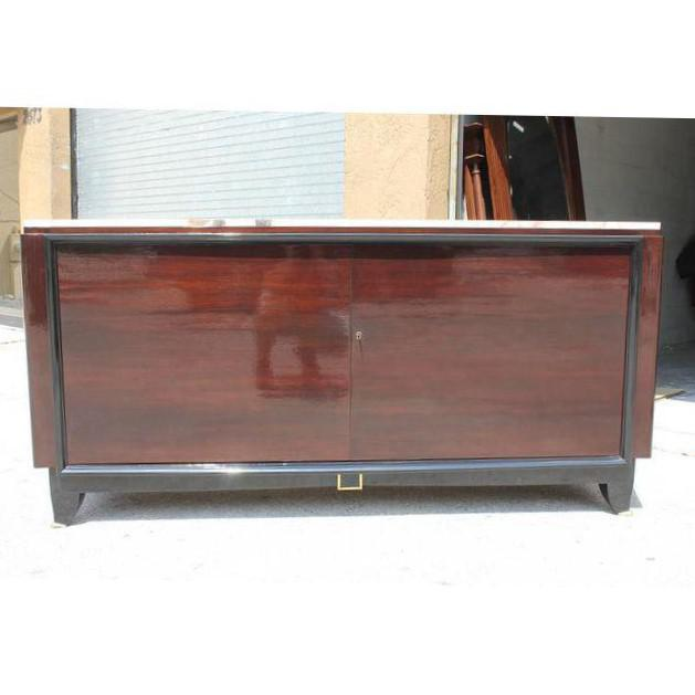 1940s Maurice Rinck French Art Deco Marble Top Macassar Ebony Sideboard / Bar For Sale In Miami - Image 6 of 10