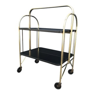 1970s Mid-Century Modern Gold Folding Bar Cart With Wheels