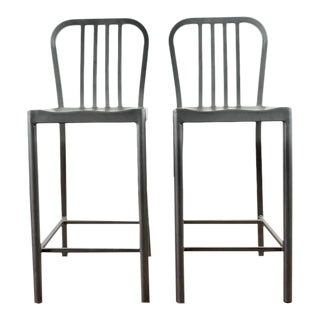 Industrial Aluminum Bar Chairs - a Pair