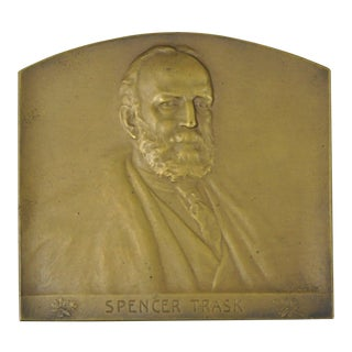 Antique Spencer Trask Bronze Plaque Paperweight by Victor David Brenner For Sale