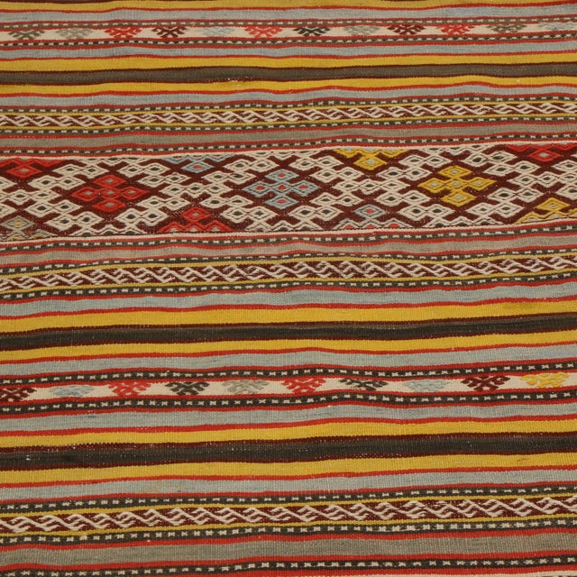 Tribal Vintage Helvaci Yellow Multicolor Wool Kilim Rug For Sale - Image 3 of 6