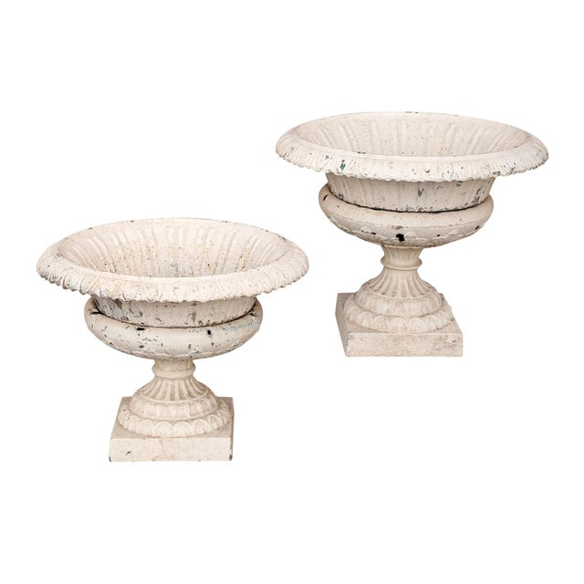 Metal Pair of French Garden Urns For Sale - Image 7 of 10