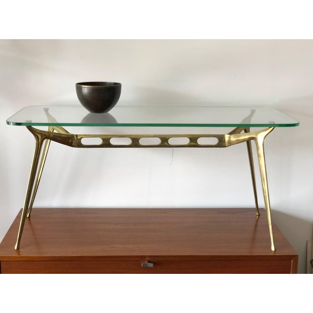 1950s Cesare Lacca Glass Top Brass Cocktail Table For Sale - Image 5 of 11