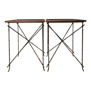 1990s Chinoiserie Metal Bamboo Style Side Tables - a Pair For Sale