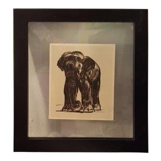 "Vintage Framed Sketch of An Elephant from the Book ""Peinture et Dessins de Paul Jouve"" For Sale"