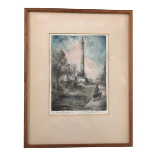 Washington Monument in Baltimore Etching For Sale