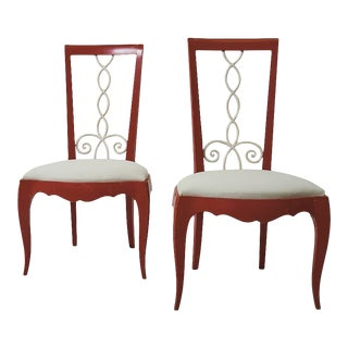 1940s Vintage French Side Chairs Upholstered in Schumacher Fabric - a Pair For Sale