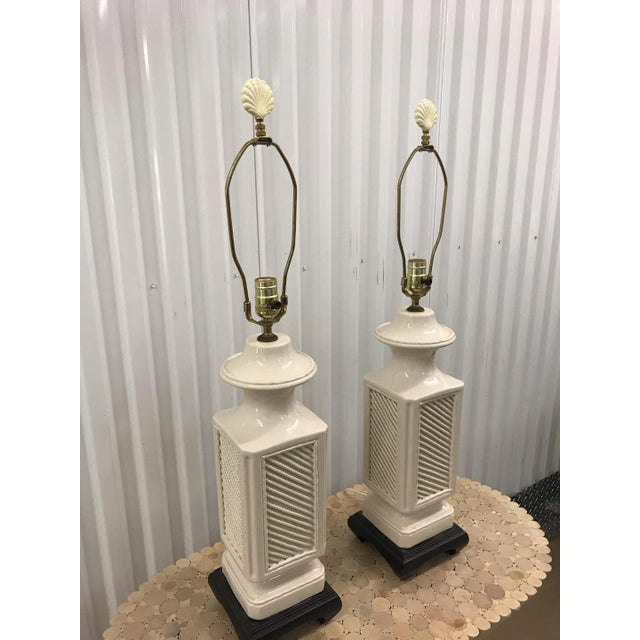 1970s Vintage Italian White Ceramic Black Wood Scroll Base Lamps - a Pair For Sale - Image 5 of 8