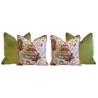 Forest Green Velvet & Designer Custom Chinoiserie Pagoda & Floral Feather/Down Pillows - Set of 4