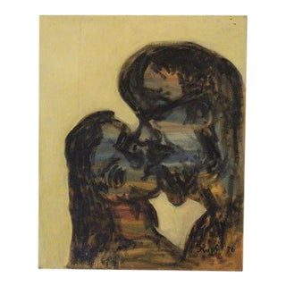Mid 20th Century Abstract Figurative Oil Painting For Sale