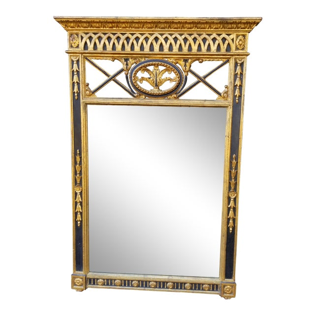 Italian Neoclassical Empire Style Giltwood Large Mirror For Sale