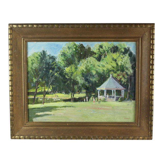 Vintage Mid Century Waterford Park Painting by Roger Dennis For Sale