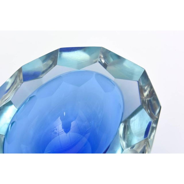 Italian Murano Sommerso Diamond Faceted Flat Cut Polished Glass Geode Bowl - Image 9 of 9