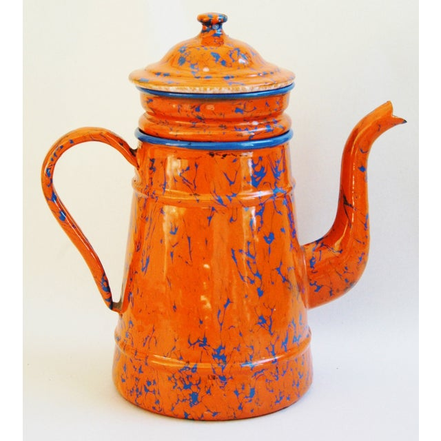 1940s French Marbleized Enameled Coffeepot - Image 5 of 7