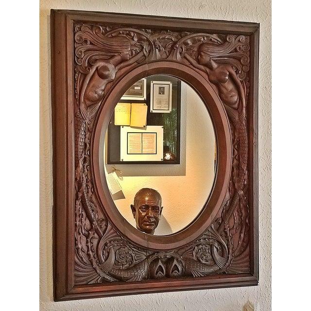 19c American Dark Walnut Wall Mirror With Mermaids - Important For Sale - Image 12 of 12
