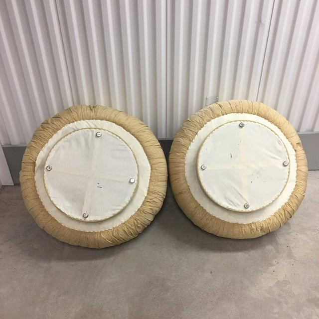 1980s Steve Chase Swivel Poufs/Ottomans- a Pair For Sale - Image 5 of 6