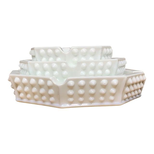 Hobnail Geometric Ashtray Bowls - Set of 3 For Sale
