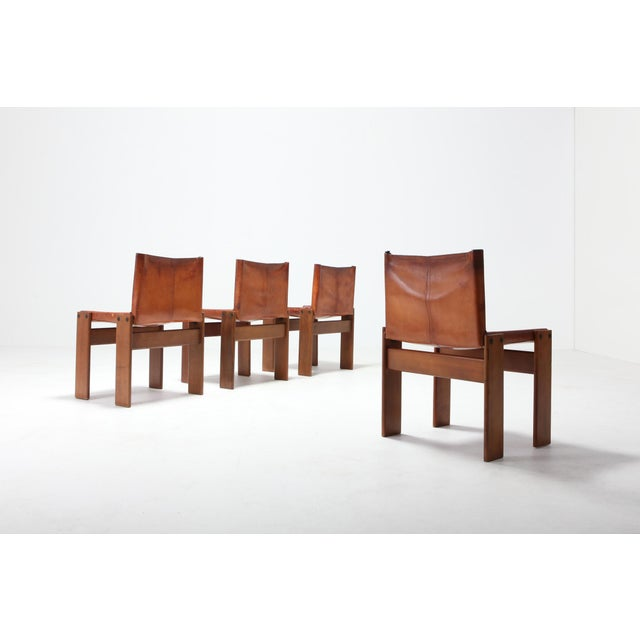 Scarpa 'Monk' Chairs in Patinated Cognac Leather, Set of Four For Sale - Image 10 of 11