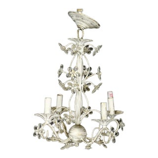 Distressed White Floral Chrystal Chandelier For Sale