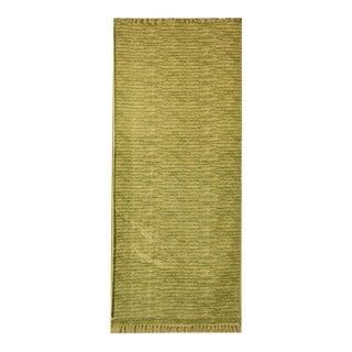 Leaf Green Batik Pattern Printed Cotton 'Dhurrie' Runner Rug - 2′6″ × 6′ For Sale