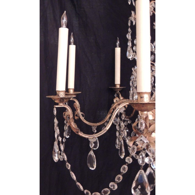 1950s 20th C French Grand Bagues Tole and Crystal Chandelier For Sale - Image 5 of 10