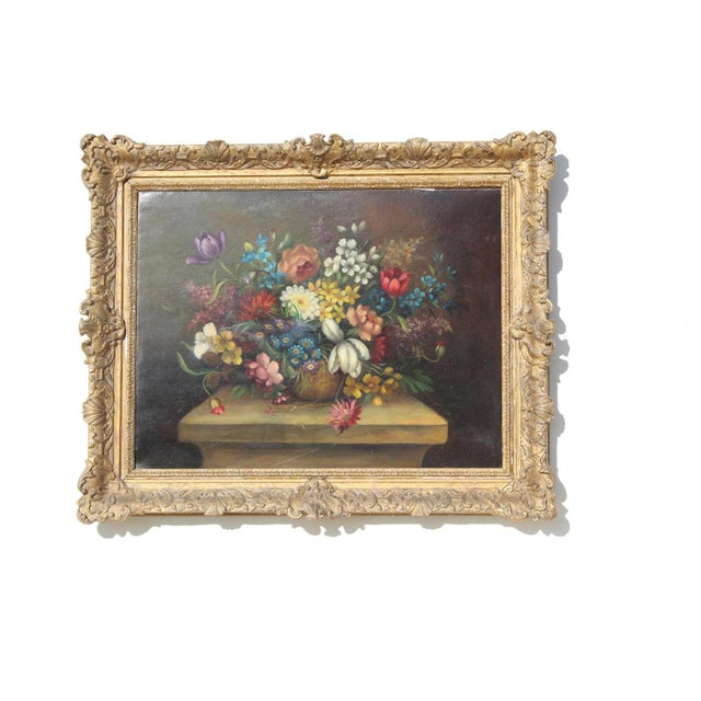 Early 20th C. Dutch Italian Floral Painting For Sale - Image 10 of 10