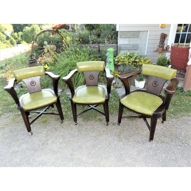 Wood and Avocado Vinyl Mid-Century Arm Chairs - Set of 3 For Sale - Image 13 of 13