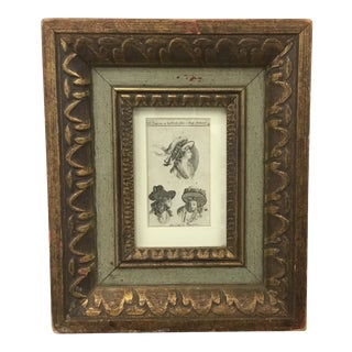 18th Century Vintage French Miniature Fashion Engraving in Frame For Sale