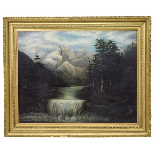 1940s Vintage Mountain Waterfall Gold Framed Oil Painting For Sale In Denver - Image 6 of 6