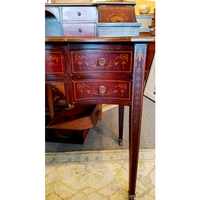 Edwardian Edwardian Style Mahogany & Satinwood Ladies Desk For Sale - Image 3 of 10