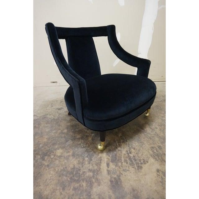 1950s Italian Gio Ponti Era Black Velvet Gondola Chairs - a Pair For Sale - Image 10 of 13