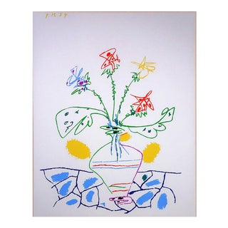 1960s Vintage Pablo Picasso for Ucla Fleurs Color Lithograph For Sale